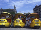 Coco Taxi Rank Outside the Capitolio, Central Havana, Cuba, West Indies, Central America Photographic Print by John Harden