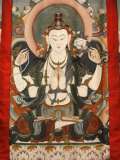Tchenrezig Thangka at Vajradhara-Ling, Aubry-Le-Panthou, Orne, France, Europe Photographic Print by Godong 