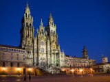 Facade of Cathedral Seen from Praza Do Obradoiro Floodlit at Night, Santiago De Compostela Photographic Print by Nick Servian