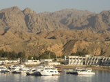Port and Marina in Front of Barren Mountains, Sharm El Sheik, Sinai Peninsula, Gulf of Aqaba Photographic Print by Tony Waltham