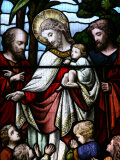 Stained Glass Window Depicting Jesus Welcoming Children, Billingshurst, Sussex Photographic Print by  Godong