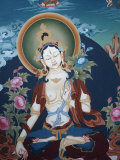 Thangka Depicting White Tara Goddess, Buddhist Symbol of Long Life, Bhaktapur, Nepal, Asia Photographic Print by  Godong