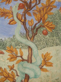 Detail of a Fresco Showing the Serpent in the Garden of Eden, Puteaux, Hauts De Seine Photographic Print by  Godong