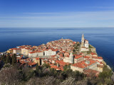Elevated View of Piran from the Castle Walls, Piran, Primorska, Adriatic Coast, Slovenia, Europe Photographic Print by Guy Edwardes