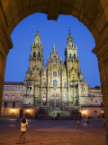 Facade of Cathedral Seen from Praza Do Obradoiro Floodlit at Night Photographic Print by Nick Servian