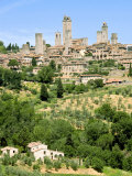 View to Town across Agricultural Landscape, San Gimignano, Tuscany Photographic Print by Nico Tondini