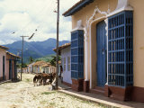 Horses in Old Town Back Street, Trinidad, Sancti Spiritus, Cuba, West Indies, Central America Photographic Print by John Harden