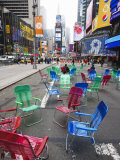 Garden Chairs in the Road for the Public to Sit and Relax in the Pedestrian Zone, Times Square Photographic Print by Amanda Hall