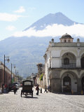 Parque Central, Plaza, with the Volcano Vulcan Agua Behind, Antigua, Guatemala Photographic Print by Wendy Connett