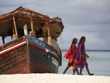 Maasai Warriors on Kendwa Beach, Zanzibar, Tanzania, East Africa, Africa Photographic Print by Andrew Mcconnell