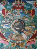 Wheel of Life, Kopan Monastery, Bhaktapur, Nepal, Asia Impressão fotográfica por  Godong