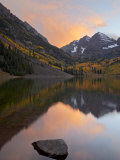 Maroon Bells with Fall Colors During a Clearing Storm in the Evening, White River National Forest Photographic Print by James Hager