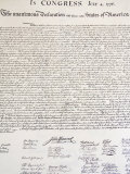 Copy of the Declaration of Independence in Free Quarker Meeting House Photographic Print by Richard Cummins
