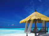 Jetty with Straw Roof, Maldives, Indian Ocean, Asia Photographic Print by Sakis Papadopoulos
