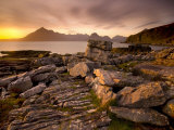 Sunset View over Rocky Foreshore to the Cuillin Hills from Elgol, Isle of Skye, Highland Photographic Print by Lee Frost