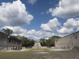 Guide Lecturing to Tourists in the Great Ball Court, Chichen Itza, Yucatan Photographic Print by Richard Maschmeyer