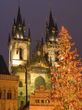 Christmas Tree Decoration and Towers of Tyn Cathedral at Staromestske , Stare Mesto Photographic Print by Richard Nebesky