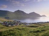 Sydrugota Village and Gotuvik Bay, Esturoy Island, Faroe Islands, Denmark, Europe Photographic Print by Patrick Dieudonne