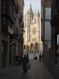West Front of Leon Cathedral, Seen from a Narrow Side Street, Leon, Castilla Y Leon Photographic Print by Nick Servian