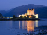 Eilean Donan Castle Floodlit at Night on Loch Duich, Near Kyle of Lochalsh, Highland Photographic Print by Lee Frost