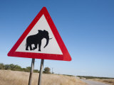 Elephant Road Sign, Damaraland, Kunene Region, Namibia, Africa Photographic Print by Ann & Steve Toon
