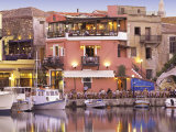 Rethymnon Old Port and Restaurants, Crete Island, Greek Islands, Greece, Europe Fotografie-Druck von Sakis Papadopoulos
