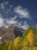 Maroon Bells with Fall Color, White River National Forest, Colorado Photographic Print by James Hager