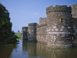 Moat and Outer Curtain Wall at Beaumaris Castle Photographic Print by Nigel Blythe