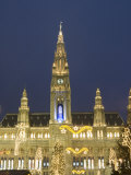 Rathaus with Christmas Decorations at Rathausplatz at Twilight, Innere Stadt, Vienna Photographic Print by Richard Nebesky