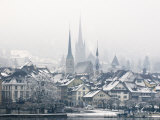 The Town of Zug on a Misty Winter's Day, Switzerland, Europe Photographic Print by John Woodworth
