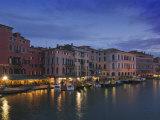 Grand Canal at Dusk, Rialto, Venice, UNESCO World Heritage Site, Veneto, Italy, Europe Photographic Print by Hazel Stuart