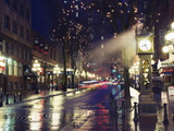 The Steam Clock at Night on Water Street, Gastown, Vancouver, British Columbia, Canada Fotografisk tryk af Christian Kober