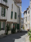 Street Lined with Hollyhocks, St. Martin-De-Re, Ile De Re Charente-Maritime, France, Europe Photographic Print by Peter Richardson