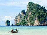 Fishing Boat on Ko Phi Phi Island, Andaman Sea, Thailand, Southeast Asia, Asia Photographic Print by Nico Tondini