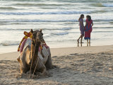 Two Girls on Beach at Dusk, Camel Waiting, Ganpatipule, Karnataka, India, Asia Photographic Print by Annie Owen