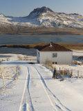 Farm in Borgarfjordur Eystri Fjord, Mount Burfell, 464M Photographic Print by Patrick Dieudonne