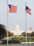 American Flags, the Capitol Building, Capitol Hill, Washington D.C. Photographic Print by Christian Kober