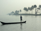 Canoe at Dawn on Backwaters, Alleppey District, Kerala, India, Asia Photographic Print by Annie Owen