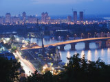 Lights Illuminating Podil District and Dnieper River Area at Night, Kiev, Ukraine, Europe Photographic Print by Christian Kober