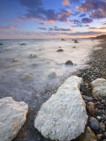 Chalk Boulders on Branscombe Beach at Sunset, Branscombe, Devon, England, United Kingdom, Europe Photographic Print by Guy Edwardes