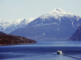 Ferry in Howe Sound, Scenery on the Sea to Sky Highway, Near Vancouver, British Columbia, Canada Photographic Print by Christian Kober