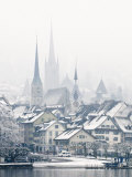 The Town of Zug on a Misty Winter Day, Zug, Switzerland, Europe Photographic Print by John Woodworth