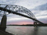 Sunset over Sagamore Bridge, Cape Cod Canal, Cape Cod, Massachussets, New England Photographic Print by Christian Kober