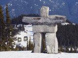 Inuit Inukshuk Stone Statue, Whistler Mountain Resort Photographic Print by Christian Kober