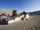 Ming Sha Sand Dunes and Pavilion at Crescent Moon Lake, Dunhuang, Gansu Province, China, Asia Photographic Print by Christian Kober