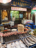 Barbeque Food at a Street Market in the Muslim Area of Xian, Shaanxi Province, China, Asia Photographic Print by Christian Kober