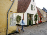 Woman Walking with a Dog in Ribe Historic Center, Ribe, Jutland, Denmark, Scandinavia, Europe Photographic Print by Yadid Levy