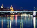 Pont De L'Universite, River Rhone, Lyon, Rhone Valley, France, Europe Fotografisk tryk af Nico Tondini