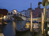 Gondolas Moored on the Grand Canal at Riva Del Vin, with Rialto Bridge Behind, Venice, Veneto Photographic Print by Hazel Stuart