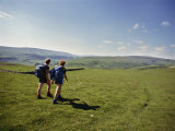 Couple Walking on the Dalesway Long Distance Footpath, Near Kettlewell, Yorkshire Photographic Print by Nigel Blythe
